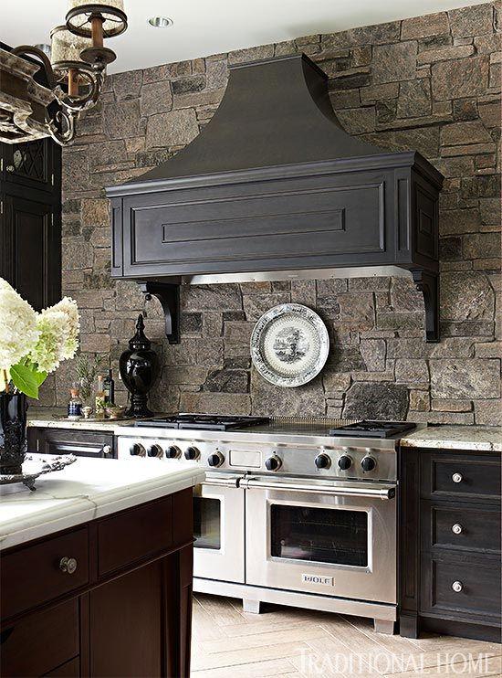 ιδέες με πέτρες, τούβλα και βότσαλα για τοίχους κουζίνας30