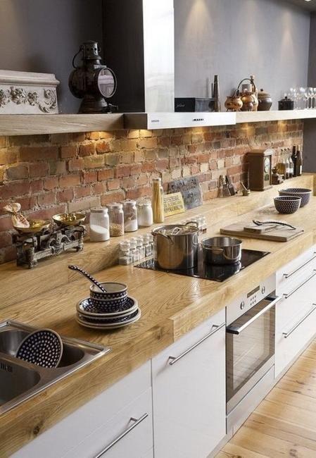 ιδέες με πέτρες, τούβλα και βότσαλα για τοίχους κουζίνας32