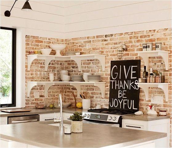 ιδέες με πέτρες, τούβλα και βότσαλα για τοίχους κουζίνας33