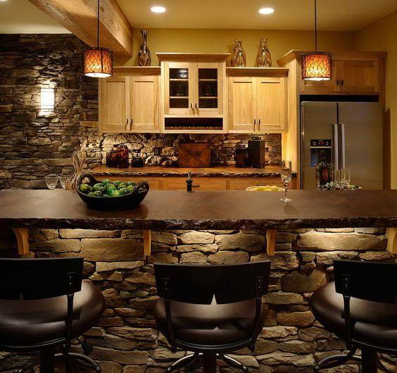 ιδέες με πέτρες, τούβλα και βότσαλα για τοίχους κουζίνας35