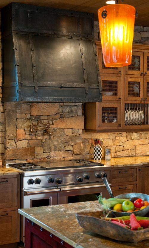 ιδέες με πέτρες, τούβλα και βότσαλα για τοίχους κουζίνας37