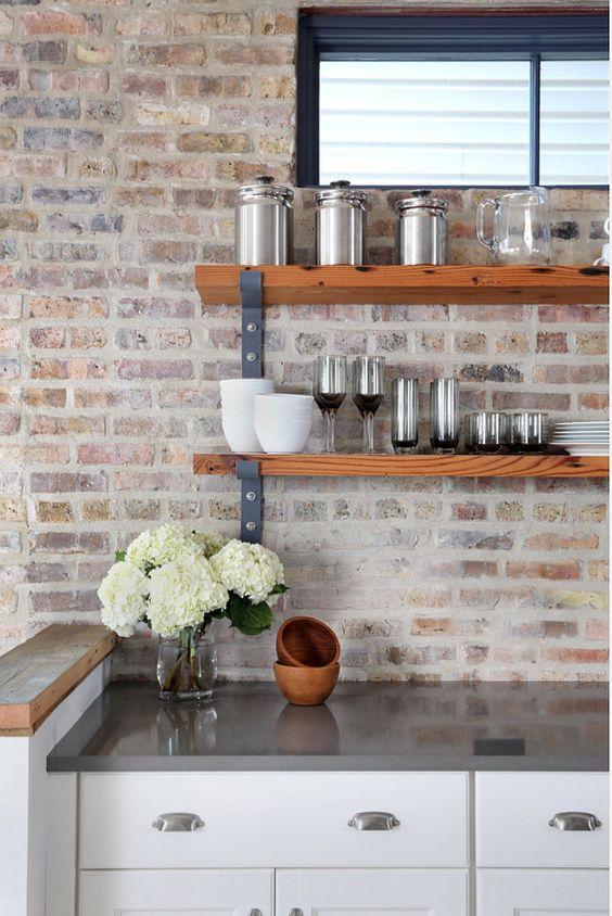ιδέες με πέτρες, τούβλα και βότσαλα για τοίχους κουζίνας45
