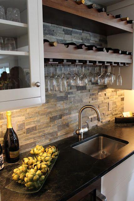 ιδέες με πέτρες, τούβλα και βότσαλα για τοίχους κουζίνας46