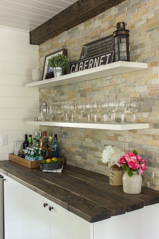 ιδέες με πέτρες, τούβλα και βότσαλα για τοίχους κουζίνας47