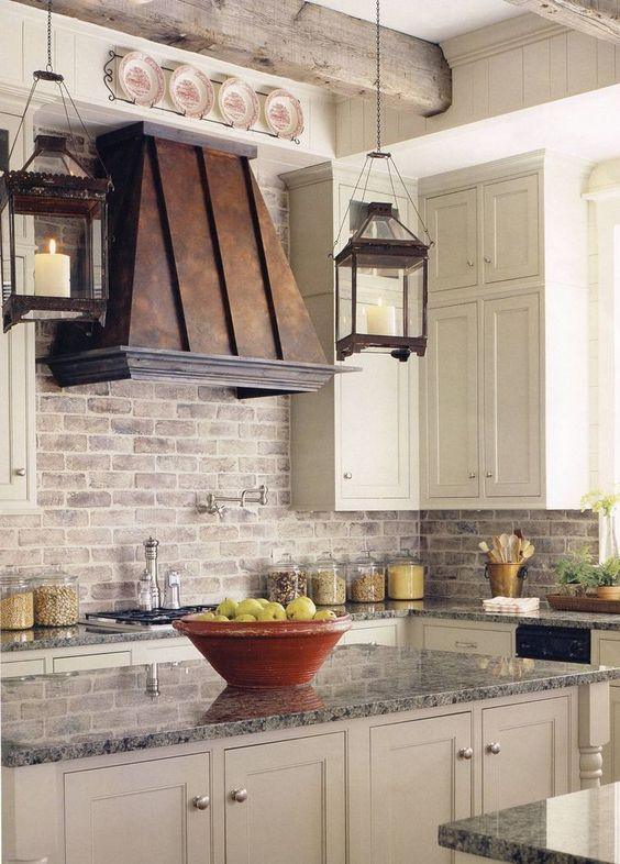 ιδέες με πέτρες, τούβλα και βότσαλα για τοίχους κουζίνας50