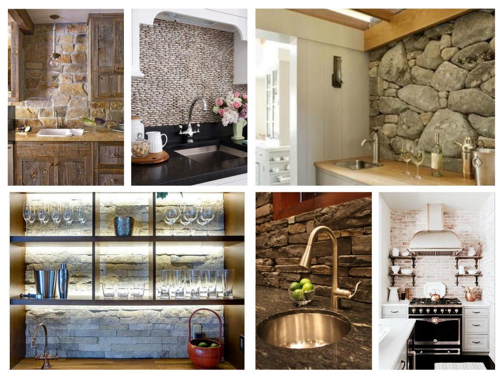 ιδέες με πέτρες, τούβλα και βότσαλα για τοίχους κουζίνας