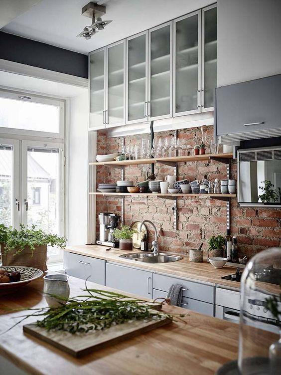ιδέες με πέτρες, τούβλα και βότσαλα για τοίχους κουζίνας6
