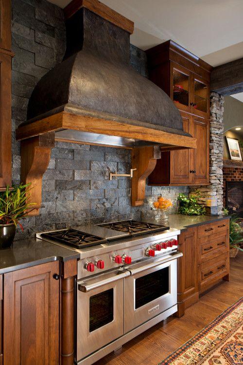 ιδέες με πέτρες, τούβλα και βότσαλα για τοίχους κουζίνας8