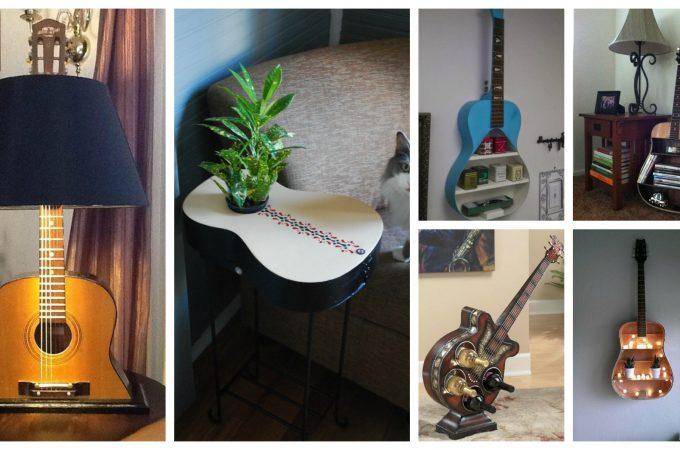 παλιές κιθάρες στη διακόσμηση του σπιτιού