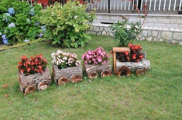 διακοσμήσεις κήπου με ξύλινα καφάσια και κορμούς δέντρου1