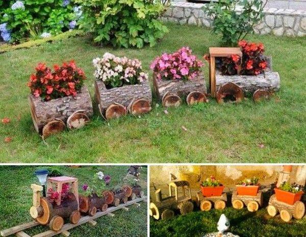 διακοσμήσεις κήπου με ξύλινα καφάσια και κορμούς δέντρου5