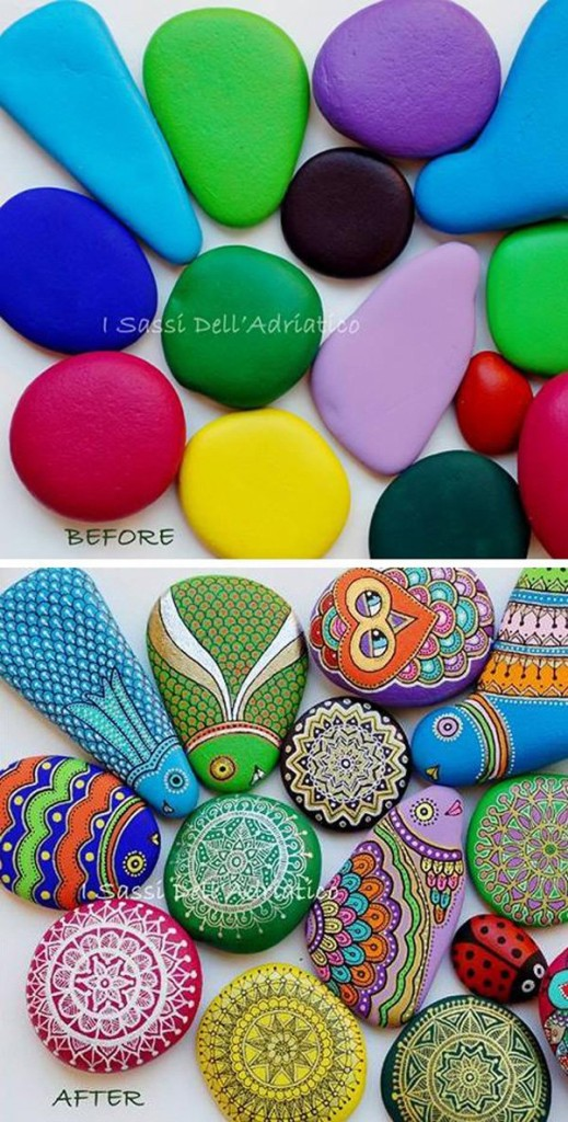 DIY ιδέες διακόσμησης με βαμμένες πέτρες και βότσαλα21