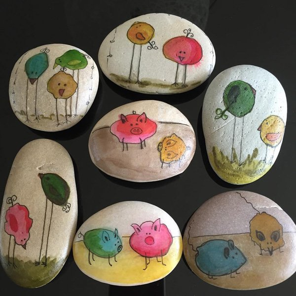 DIY ιδέες διακόσμησης με βαμμένες πέτρες και βότσαλα30