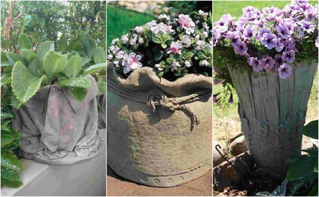 diy γλάστρες στον κήπο από τσιμέντο και παλιά ρούχα