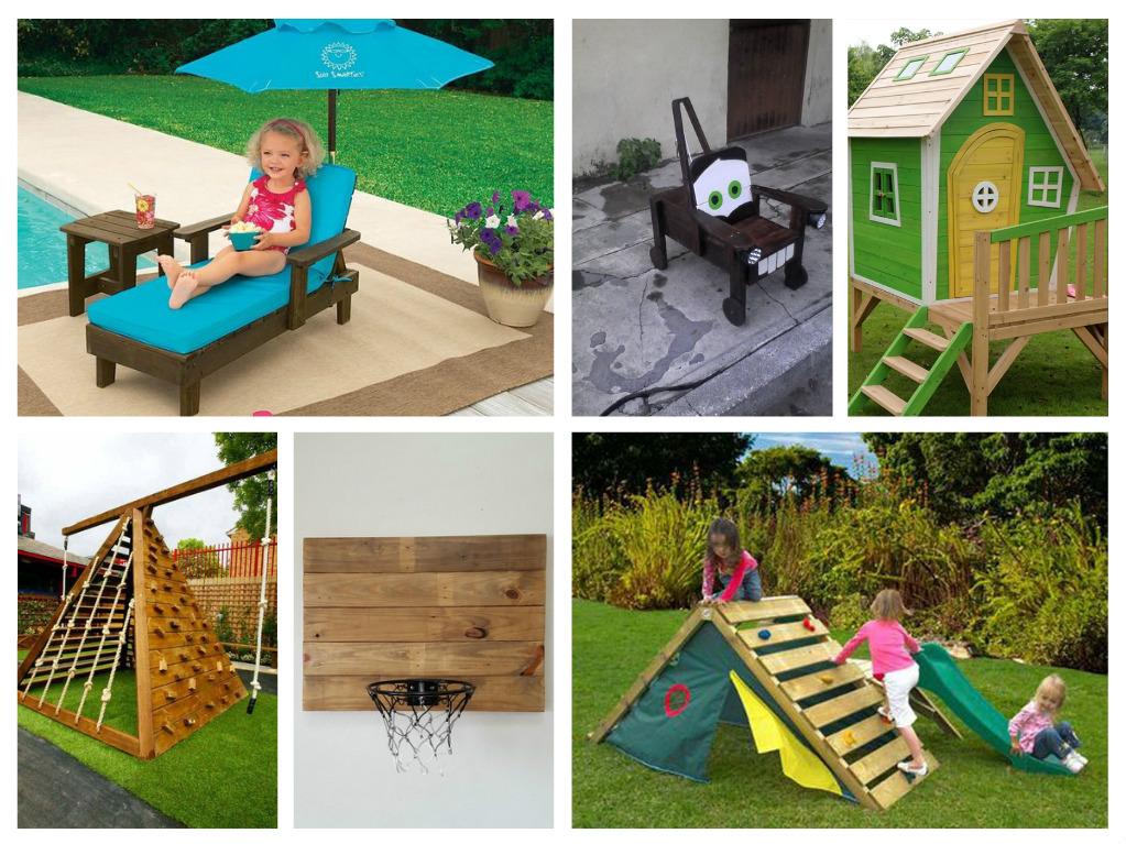 Παλέτες ιδέες για παιδικά παιχνίδια σε εξωτερικό χώρο