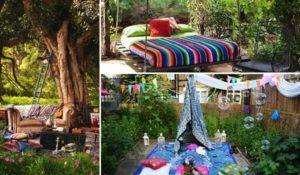 ιδέες στολισμού κήπου στο μποέμικο στυλ
