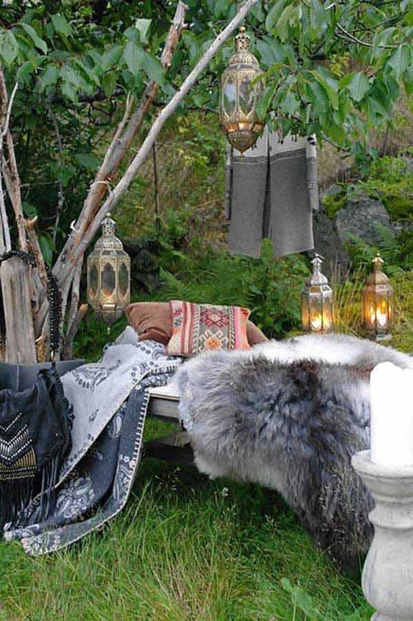 ιδέες στολισμού κήπου στο μποέμικο στυλ30