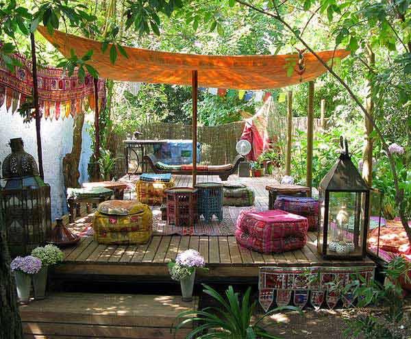 ιδέες στολισμού κήπου στο μποέμικο στυλ6