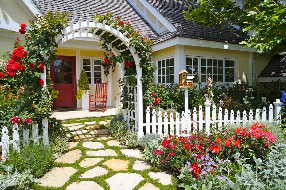 ιδέες σχεδιασμού μπροστινού κήπου και αυλής35