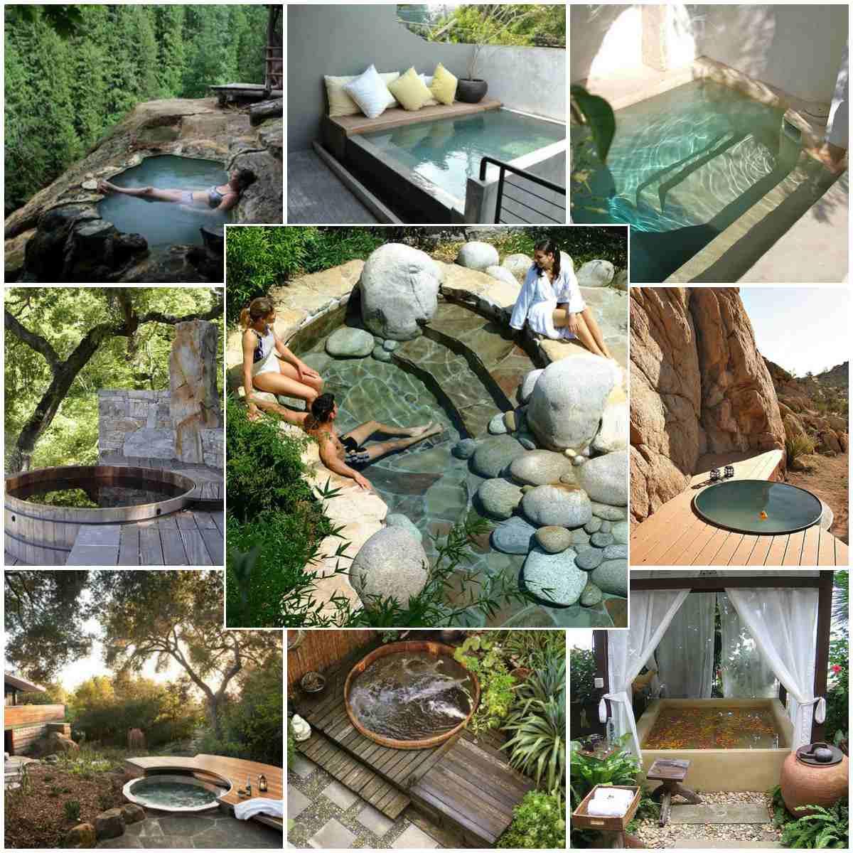 Αναζωογονητικός σχεδιασμός κήπου με μια μικρή πισίνα για να χαλαρώνετε