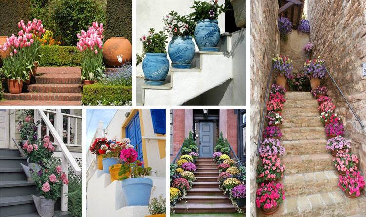 62 Υπέροχα υπαίθρια σκαλοπάτια διακοσμημένα με λουλουδένιες γλάστρες
