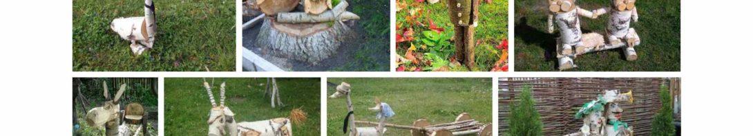 διακοσμήσεις κήπου από κορμούς