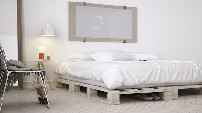 DIY bedroom, scandinavian white eco chic design