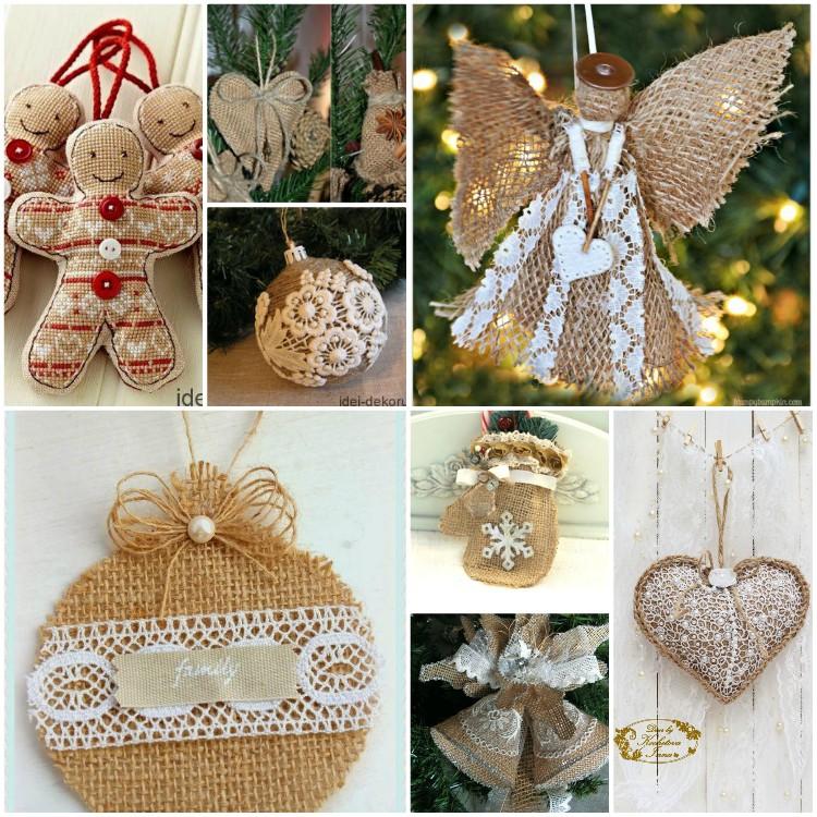 Χριστουγεννιάτικα στολίδια από λινάτσα