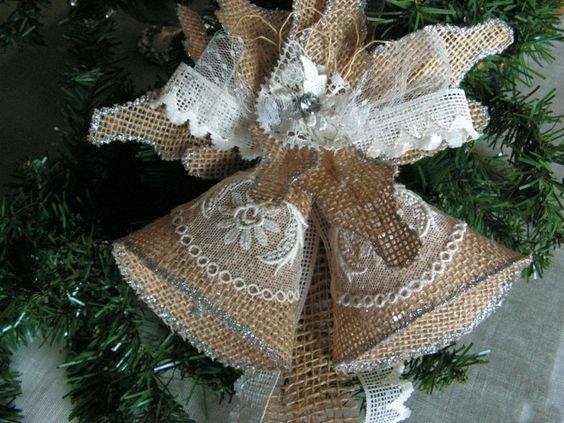 Χριστουγεννιάτικα στολίδια από λινάτσα2