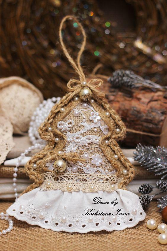 Χριστουγεννιάτικα στολίδια από λινάτσα25