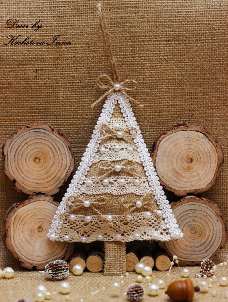Χριστουγεννιάτικα στολίδια από λινάτσα26