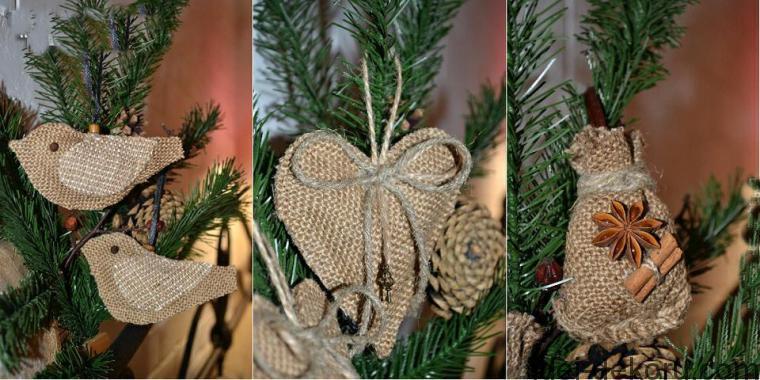 Χριστουγεννιάτικα στολίδια από λινάτσα43