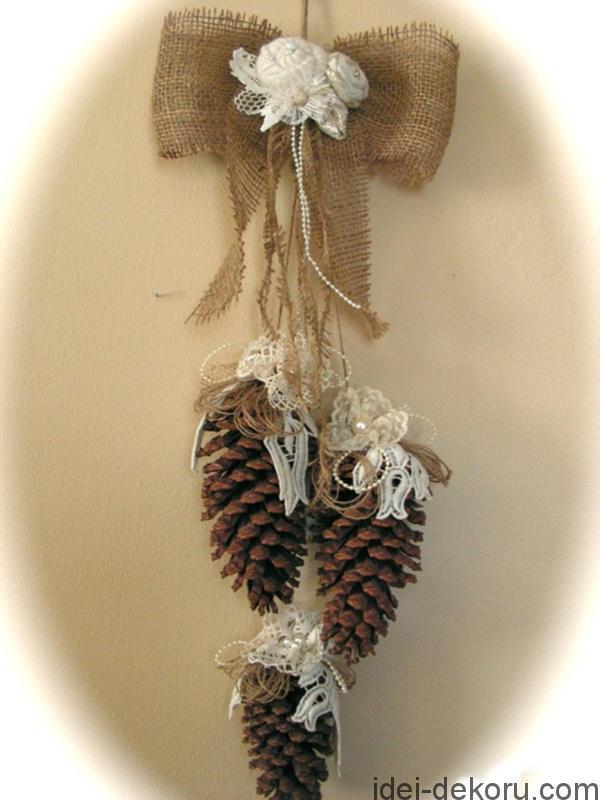 Χριστουγεννιάτικα στολίδια από λινάτσα48