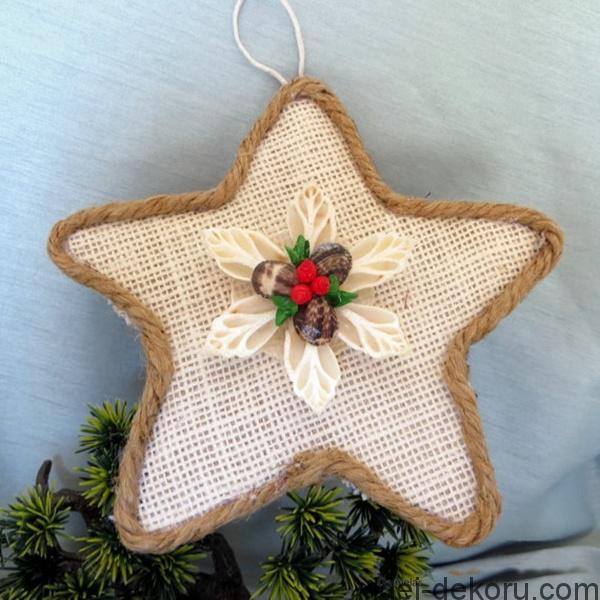 Χριστουγεννιάτικα στολίδια από λινάτσα49