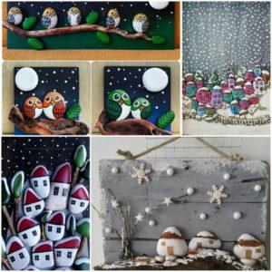 Χριστουγεννιάτικη ζωγραφική σε πέτρες και βότσαλα