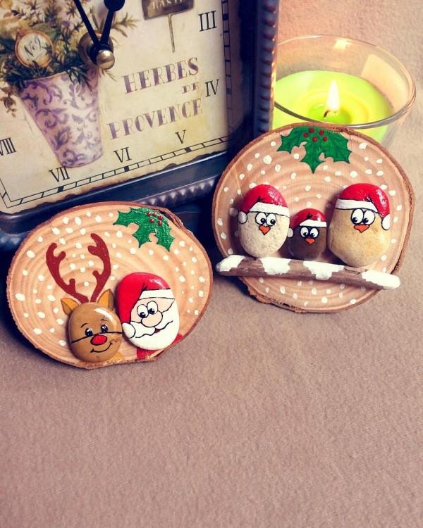 Χριστουγεννιάτικη ζωγραφική σε πέτρες και βότσαλα10