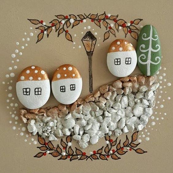 Χριστουγεννιάτικη ζωγραφική σε πέτρες και βότσαλα15
