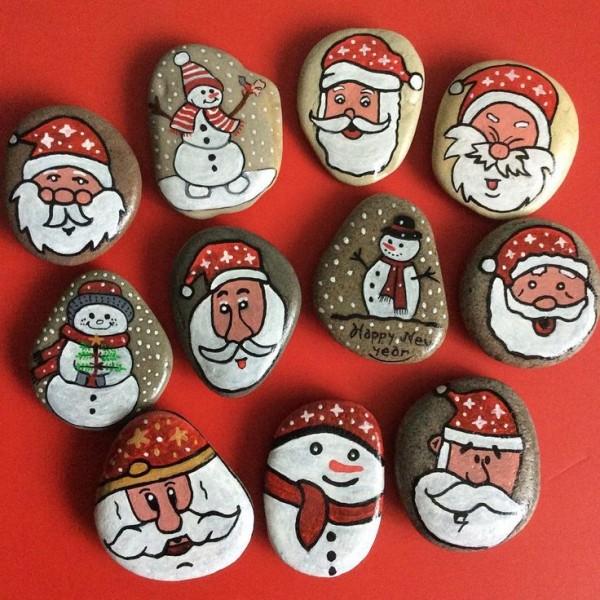 Χριστουγεννιάτικη ζωγραφική σε πέτρες και βότσαλα16
