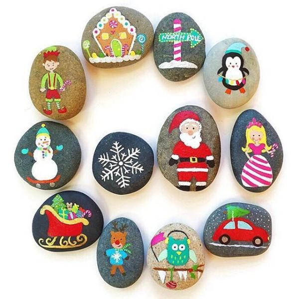 Χριστουγεννιάτικη ζωγραφική σε πέτρες και βότσαλα21