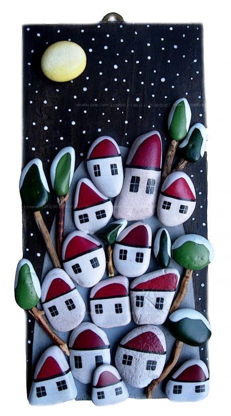 Χριστουγεννιάτικη ζωγραφική σε πέτρες και βότσαλα22