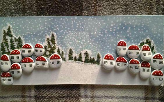 Χριστουγεννιάτικη ζωγραφική σε πέτρες και βότσαλα3