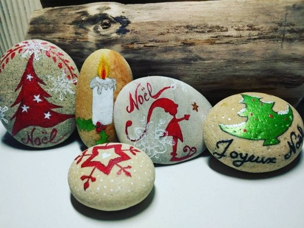 Χριστουγεννιάτικη ζωγραφική σε πέτρες και βότσαλα33