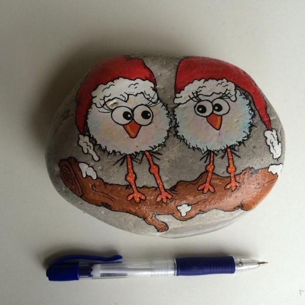 Χριστουγεννιάτικη ζωγραφική σε πέτρες και βότσαλα37