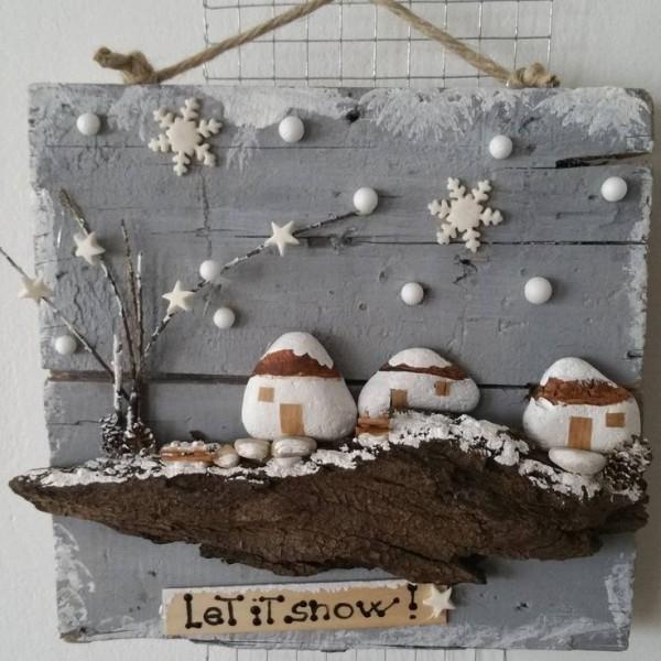 Χριστουγεννιάτικη ζωγραφική σε πέτρες και βότσαλα4