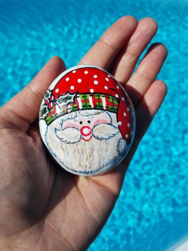 Χριστουγεννιάτικη ζωγραφική σε πέτρες και βότσαλα47