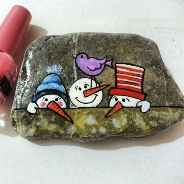 Χριστουγεννιάτικη ζωγραφική σε πέτρες και βότσαλα49