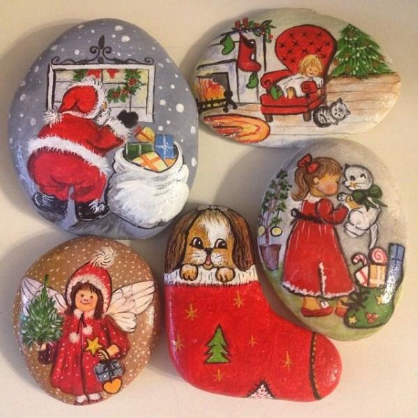 Χριστουγεννιάτικη ζωγραφική σε πέτρες και βότσαλα53