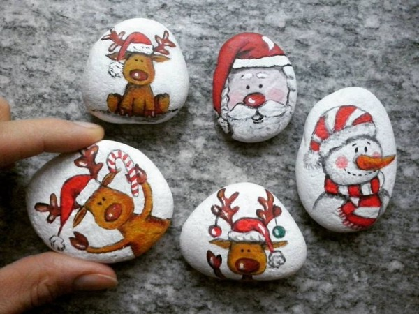Χριστουγεννιάτικη ζωγραφική σε πέτρες και βότσαλα57