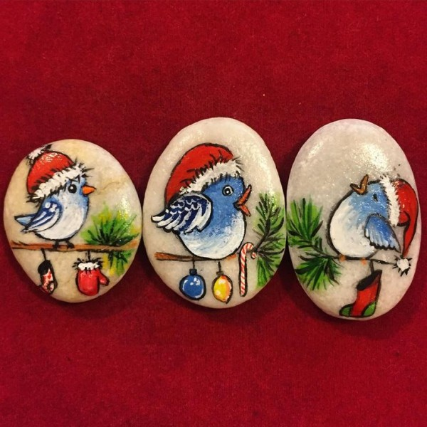 Χριστουγεννιάτικη ζωγραφική σε πέτρες και βότσαλα61