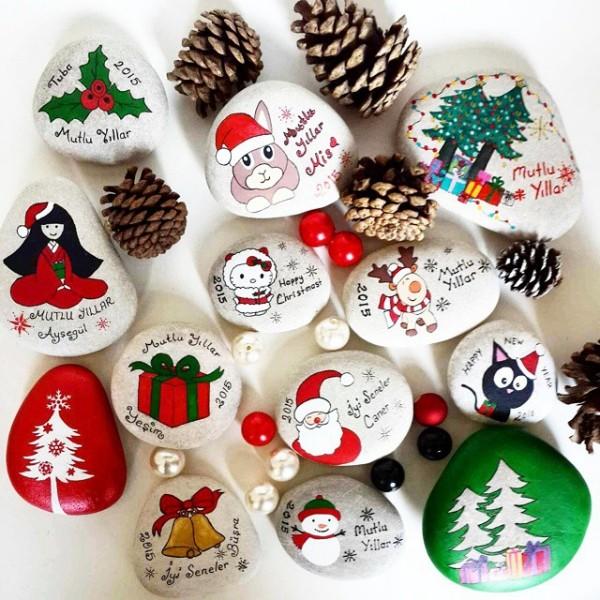 Χριστουγεννιάτικη ζωγραφική σε πέτρες και βότσαλα62